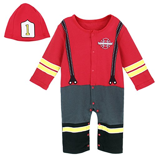 Family Costumes With Newborn (A&J Design Infant Baby Boys' Funny Firemen Uniform Costume Jumpsuit With Hat (6-12 Months, Red))