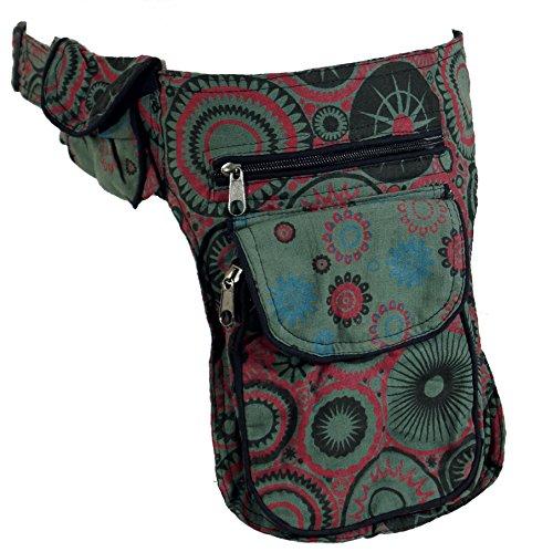 Guru-Shop Patchwork Goa Gürteltasche, Side Bag - Khaki, Herren/Damen, Grün, Baumwolle, Size:One Size, Festival- Bauchtasche Hippie