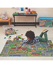 Carpet Studio Halksäker Lekmatta med Vägar, 95x200 cm, Matta för Barn för Sovrum, Barnens rum & Lekrum, Pojke & Flicka, Tvättbar 30 °C - Playcity