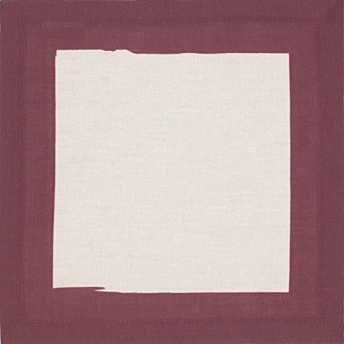 - Huddleson Cinta Border Pure Linen Napkin, Burgundy Red