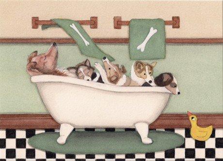 Shetland sheepdogs (shelties) fill tub at bath time/ Lynch folk art print