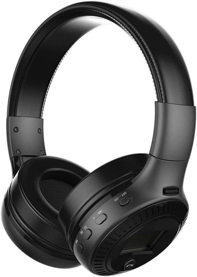 Auriculares Bluetooth plegables con micrófono y pantalla LCD con cable y modo inalámbrico para iPhone Android Tablet PC, negro
