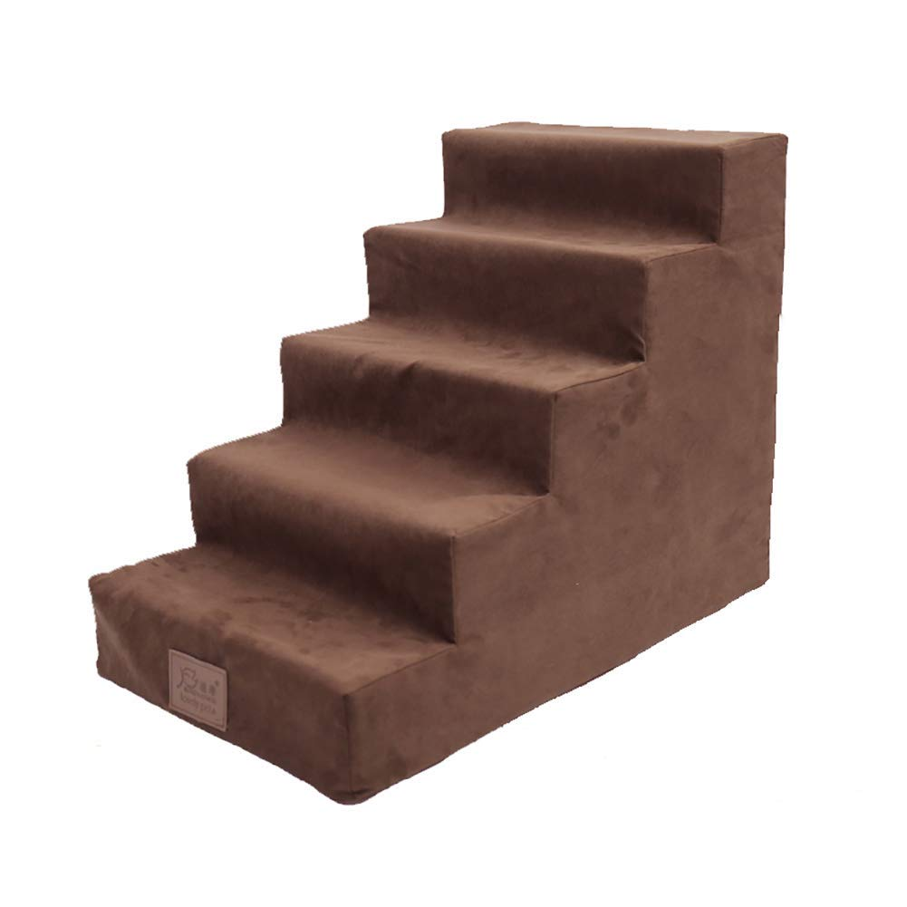 Pet Stair 5 Steps Ladder Stairs to Bed Climb Ladder Removable Wash Cover Bed Animal Ramp Ladder Pet Products, Brown, 38 X 65 X 50cm by TLL-Pet stairs