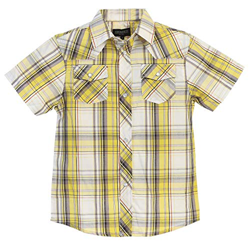 Gioberti Boys Casual Western Plaid Pearl Snap-on Buttons Short Sleeve Shirt, Yellow/Gray/White : Size 5 (Boys Western Shirts Size 5)