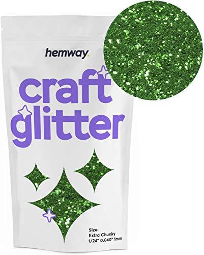 "Hemway Craft Glitter 100g 3.5oz Extra Chunky 1/24"" 0.040"" 1MM (Emerald Green)"