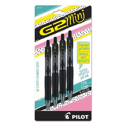 (Pilot G2 Mini Premium Retractable Gel Roller Pen, Fine Point, 0.7mm, Black Ink, Pack of 4)