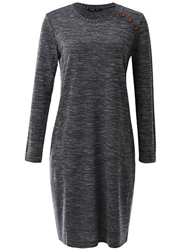 JayJay Women Vintage Round Button Neck Long Sleeve H-Line Midi Dress with Two Pocket,Charcoal,XL ()