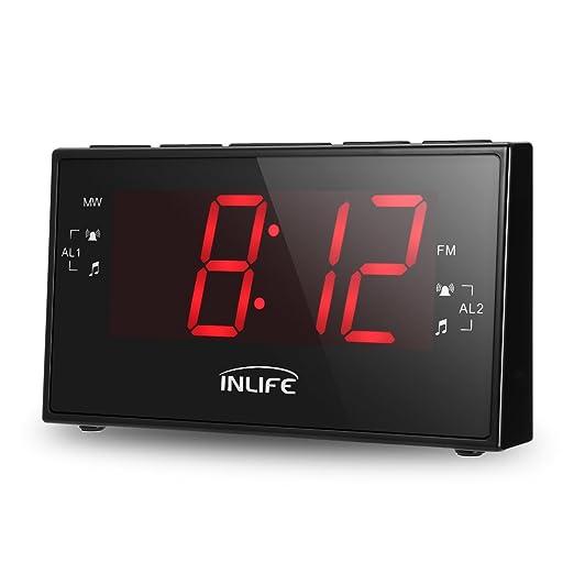 5 opinioni per INLIFE Radiosveglia Digitale con Grande Display LCD 1,8'', Radio FM/WM, Timer,
