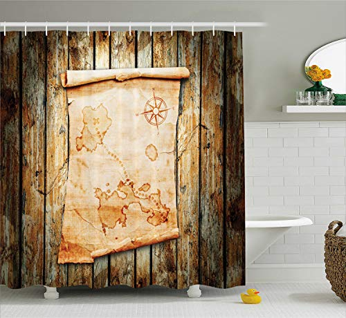Ambesonne Island Map Shower Curtain, Treasure Map on Rustic Timber X Marks The Spot of Gold Nautical Pirates Concept, Fabric Bathroom Decor Set with Hooks, 70 Inches, Cream Brown (Shower Treasure Curtain Map)