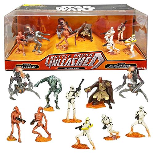 Star Wars Year 2007 Attack of the Clones Unleashed Battle Pack - BATTLE OF GEONOSIS THE CLONE WARS - Mace Windu, Clone Commander, Clone Troopers, Battle Droids, Destroyer Droids & Super Battle Droid