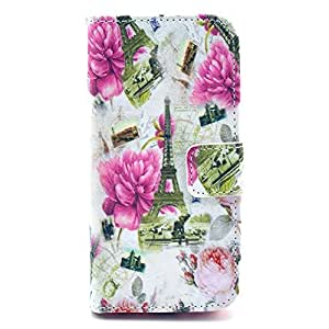 Winnema 5s leather case,Flower & Eiffel Tower Design Wallet PU Leather Stand Flip Case Protective Skin for iPhone 5 5S+Free Wristband