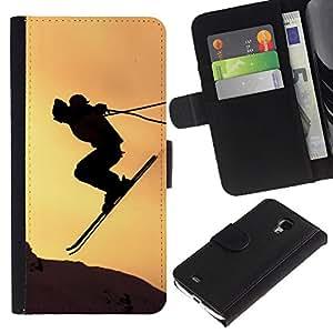Lead-Star (Sunset Sky Jump Mountains) Colorida Impresión Funda Cuero Monedero Caja Bolsa Cubierta Caja Piel Card Slots Para Samsung Galaxy S4 Mini i9190 / i9195 (Not For S4)