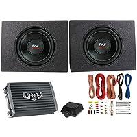 2) PYLE 12 3200W Car Subwoofers PLPW12D +2 Ch Amplifier +Amp Kit + 2) Sub Boxes