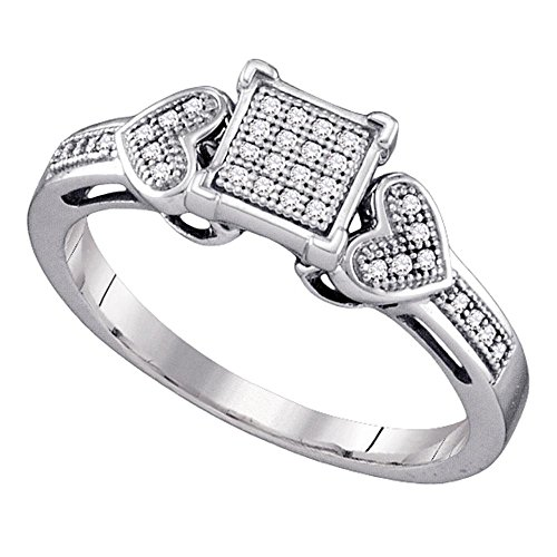 (Sqaure Pave Diamond Ring Sterling Silver Heart Band Milgrain Fashion Cocktail Style Polished 1/10 ctw)