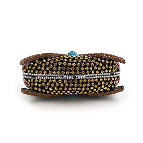 luxe Mariage main sac à cadre Strass sac main d'embrayage métallique de sac à de Blue soirée préféré l'animal femmes des 51aqB1g