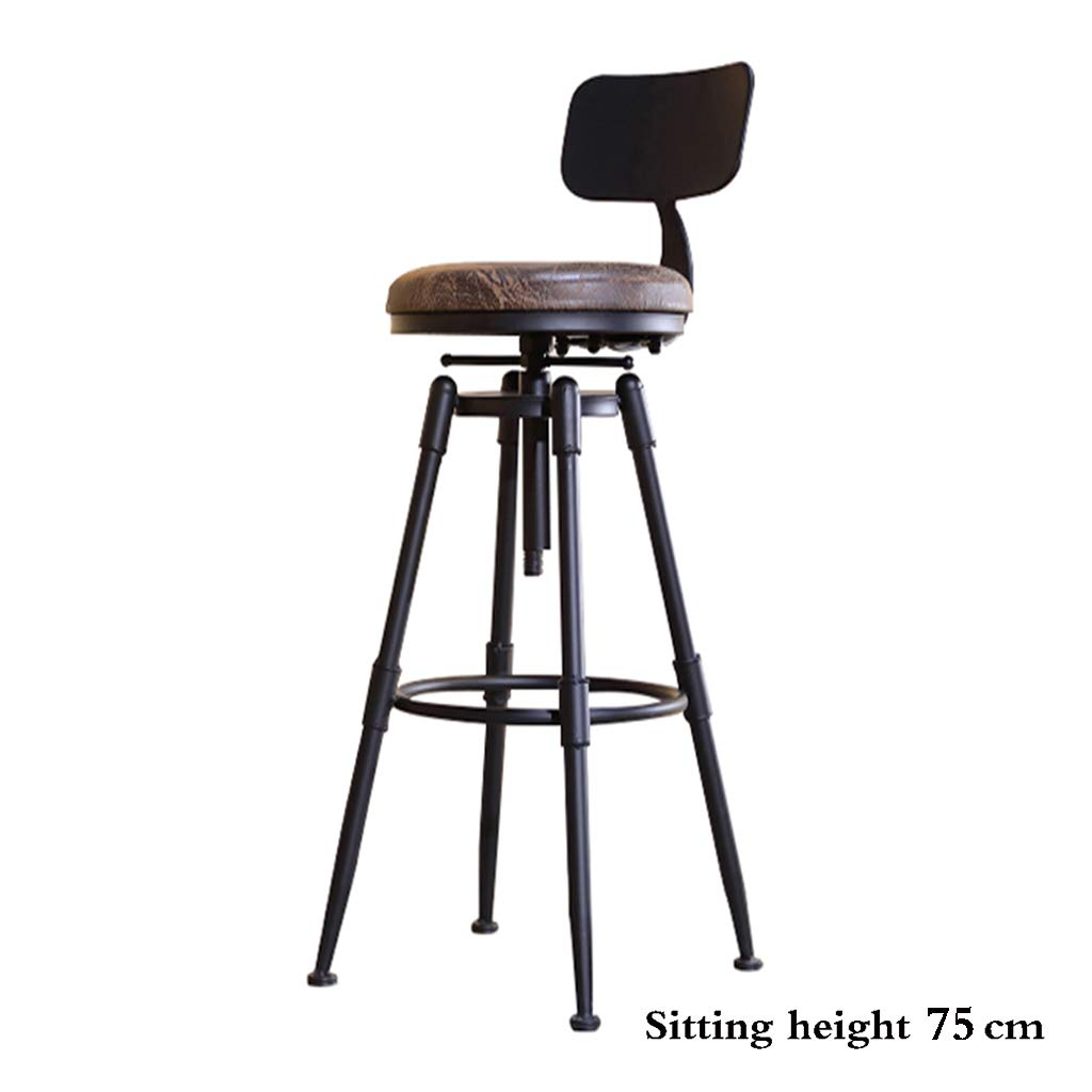 PU leather 75cm Bar stool, Solid Wood Wrought Iron high Chair Retro Industrial Wind revolving Stool Lifting backrest Stool Cafe PU Leather Sitting 45-75 cm high antirust