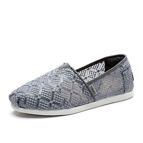Tiosebon Dames Slip Op Sneakers-ademende Flats Schoenen 5930 Grijs