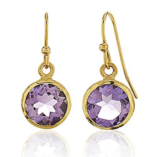Amethyst Stone Dangle (18K Gold-Plated Brass Rims Circle Purple Amethyst Gemstone Dangle Earrings)