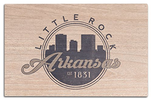 Lantern Press Little Rock, Arkansas - Skyline Seal (Blue) (10x15 Wood Wall Sign, Wall Decor Ready to - Arkansas Wood Sign