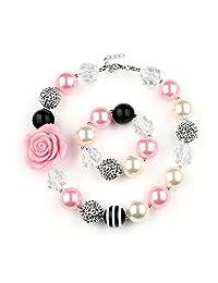 Bouren Fashion Girls Chunky Beads Bubblegum Necklace and Bracelet Set