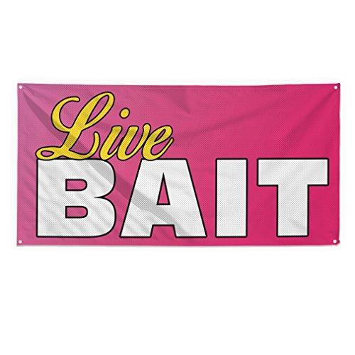 10 Live Bait - Live Bait #1 Outdoor Fence Sign Vinyl Windproof Mesh Banner With Grommets - 5ftx10ft, 10 Grommets