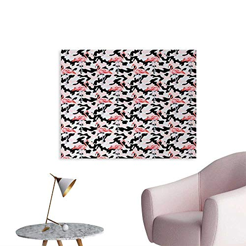 Tudouhoho Camo The Office Poster Watercolor Pink Flamingo Print Camouflage Background Nature Inspired Wallpaper Dark Coral Light Pink Black W28 xL20