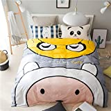 Mumgo Home Textile Bedding Sets for Kids Boys Girls Cute Pattern Duvet Cover Set with Personality Pillowcase,Not Include Comforter (Full/Queen Size-4 Piece, Flat Sheet-Color1)