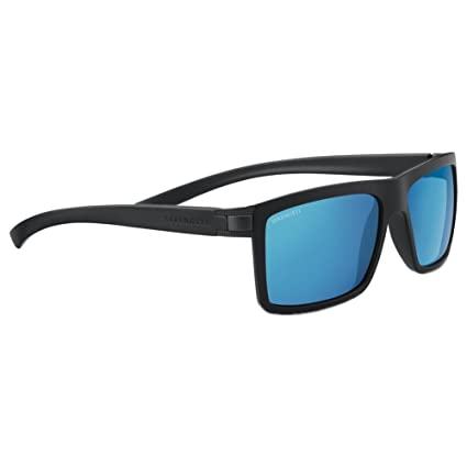 Serengeti 8210 Brera Sunglass, Sanded Black Frame, Polarized 555nm Blue Lens