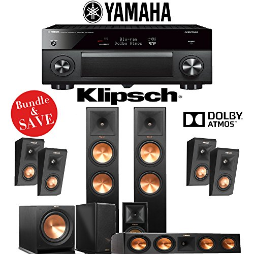 Klipsch RP-280F 5.1.4-Ch Reference Premiere Dolby Atmos Home Theater Package with Yamaha AVENTAGE RX-A3070BL 11.2-Channel Network AV Receiver by Klipschhh