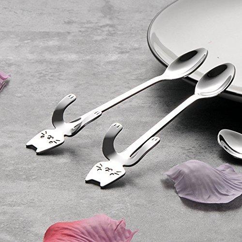 MIUK 304 Stainless Steel Coffee Spoon Creative Kitty Hook Dirtproof Coffee Tea Spoon Scoop