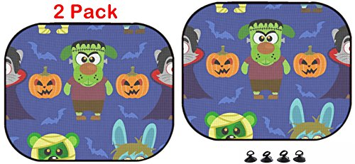 Luxlady Car Sun Shade Protector Block Damaging UV Rays Sunlight Heat for All Vehicles, 2 Pack Image ID: 31870702 Seamless with Animal in Halloween Costume]()