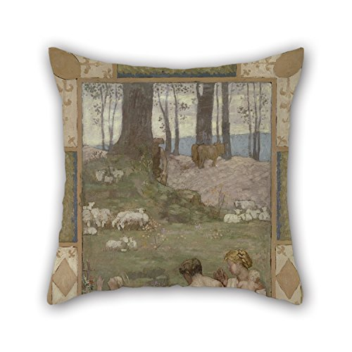 16 X 16 inches / 40 40 cm Oil Painting Pierre Puvis De Chavannes - Saint Genevieve As A Child in Prayer Pillow Covers Double Sides Ornament Gift to Son (Genevieve Duvet Cover)