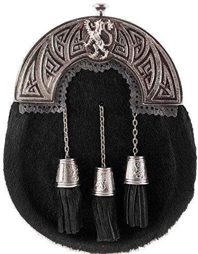Full Dress Sporran Lion Cantle Design Black Finish Goat Hide Black