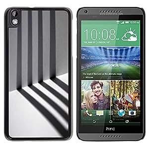 TopCaseStore / la caja del caucho duro de la cubierta de protección de la piel - Prison Alone Stripes Minimalist - HTC DESIRE 816