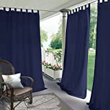 Blackout Outdoor Curtain Tab Top Navy 100'' W x 96'' L For Front Porch, Pergola, Cabana, Covered Patio, Gazebo, Dock, and Beach Home (1 Panel).