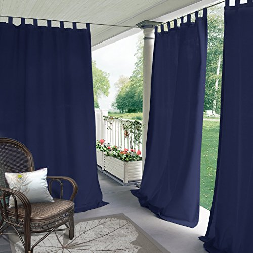 COFTY Indoor/Outdoor Tab Top Curtain Panels For Patio| Porch| Gazebo| Pergola | Cabana | dock| beach home - Navy 52W x 108L Inch (1 Panel)