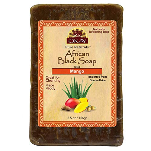 OKAY | African Black Soap with Mango | For All Skin Types | Cleanses and Exfoliates | Nourishes and Heals | Free of Sulfate, Silicone & Paraben | 5.5 - Mango African Soap