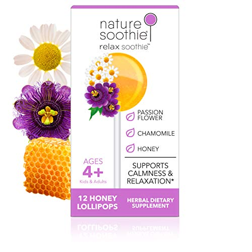 nature soothie Relax Honey Lollipops Herbal Supplement - Kids & Adults Calm & Relax Pops - Natural Herbs- Passionflower & Chamomile- Mild Anxiety & Restlessness Relief Suckers - 12 Count
