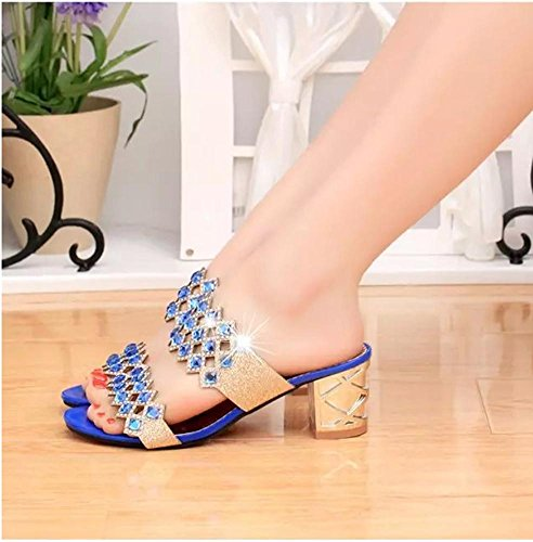 36 Alta Tallone Sandali Di Era 35 Blue Highxe Aperti Tacchi Diamanti La In Moda Aperti Alti 7wYHYqZ