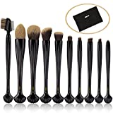 #1: MAANGE Makeup Brush Set, 10 PCS Makeup Brush Kit for Synthetic Foundation Powder Contour Concealers Eye Shadows Premium Shell-shaped Handles Kabuki Brush with Makeup Bag (BLACK)
