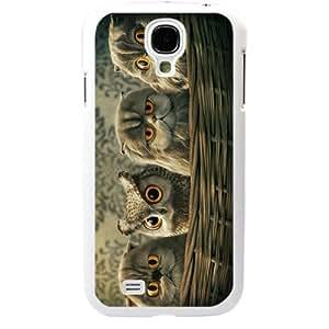 Cute popular owl Design Samsung Galaxy S4 SIV I9500 TPU Soft Black or White case (White)