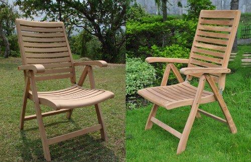 Grade-A Teak Wood Luxurious Reclining Folding Arm / Captain Dining Chair [Model: Ashley] #WHDCARAS