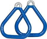 Swing Set Stuff Commercial Coated Triangle Trapeze Rings with SSS Logo Sticker, Blue