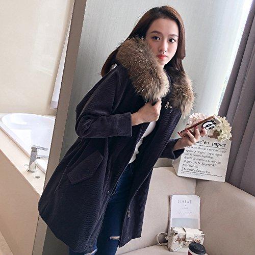 Down Loose Collar Coat Thick The Black Cap Jacket Wool Wild Winter Long Women Xuanku TtqSzEgz