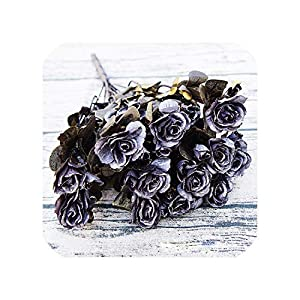 Heart to hear Artificial flowers Simulation Rhododendron Roses Bouquet Actual Feel Golden Retro Sprigs Home Wedding Party Decoration Gifts Flowers,Black Peony Flower 50