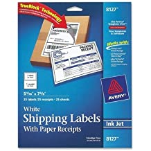 Avery Consumer Products Products - Shipping Labels, w/ Paper Receipt, 5-1/16amp;quot;x7-5/8amp;quot;, 25/PK, WE - Sold as 1 PK - Shipping labels come with attached paper receipts. Bright white labels offer TrueBlock technology to completely cover everything underneath so you can re-use mailing tubes, boxes and more. Jam-free and smudge-free labels are compatible with inkjet printers. Avery offers many easy-to-use templates and software solutions for labels.