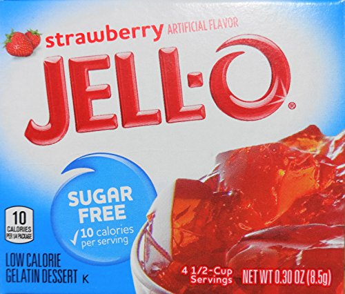 (Jell-O Strawberry Sugar-Free Gelatin, 0.30 Ounce (8.5g), (Pack of 5))