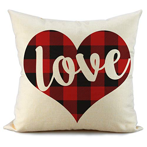 FIBEROMANCE Valentines Red and Black Buffalo Check Plaid Love Pillow Covers Decorative Cushion Case for Sofa Couch Bedroom Spring Home Decor Cotton Pillowcase 18 x 18 Inch (Valentines Day Throw Pillows)