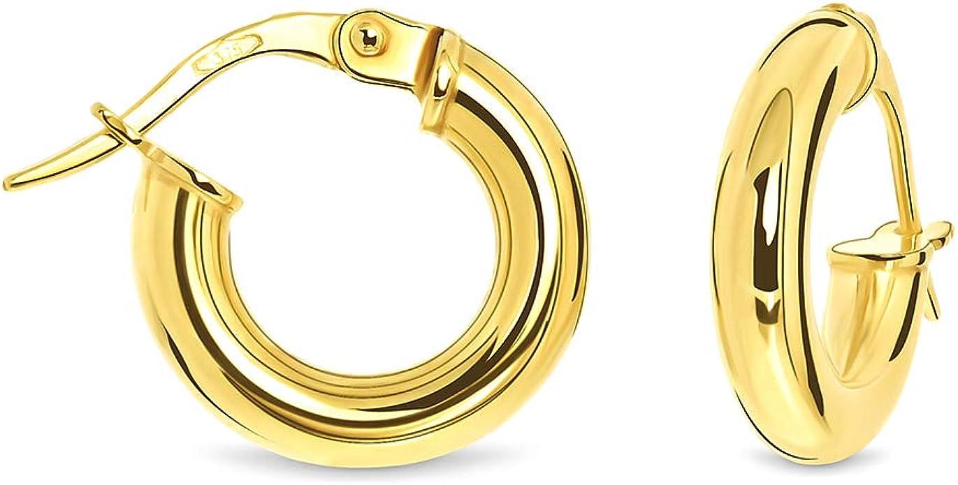 Creolen Ohrringe echt Gold 375 Gelbgold 9 Karat Zirkonia elegant edel schick