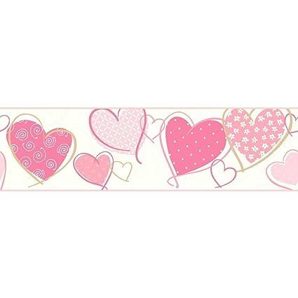 Greca bordo cuori rosa panna cameretta autoadesiva parati bambini ...